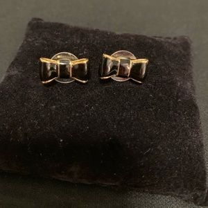 Elegant Kate Spade Golden Black Bow Stud Earrings